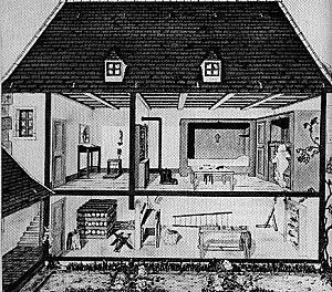 Cellule de moine: antichambre (Ave Maria) et salle principale. Sous-sol pour travaux manuels