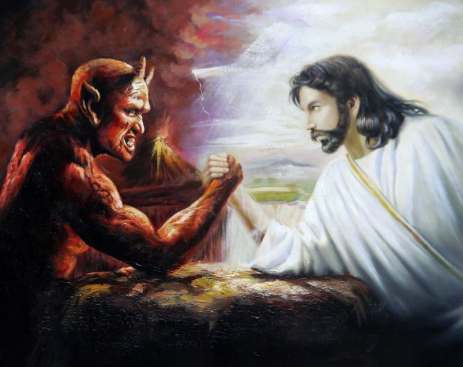 100-Handpainted-Jesus-and-the-Devil-Arm-Wrestling-50x60cm-Portrait-Oil-Painting-on-Canvas